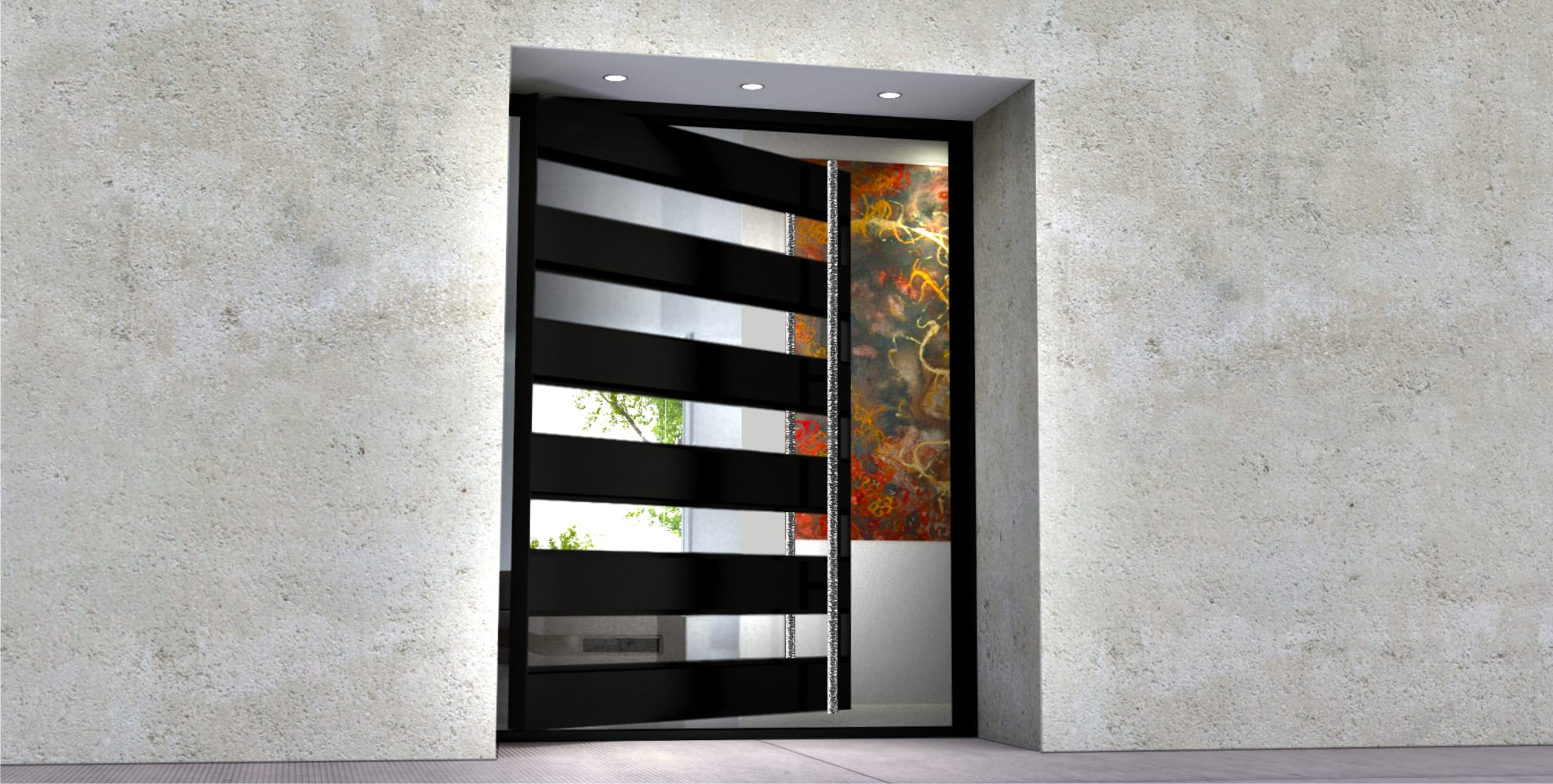 modern entry single door made of glass and metal with round polished door handle