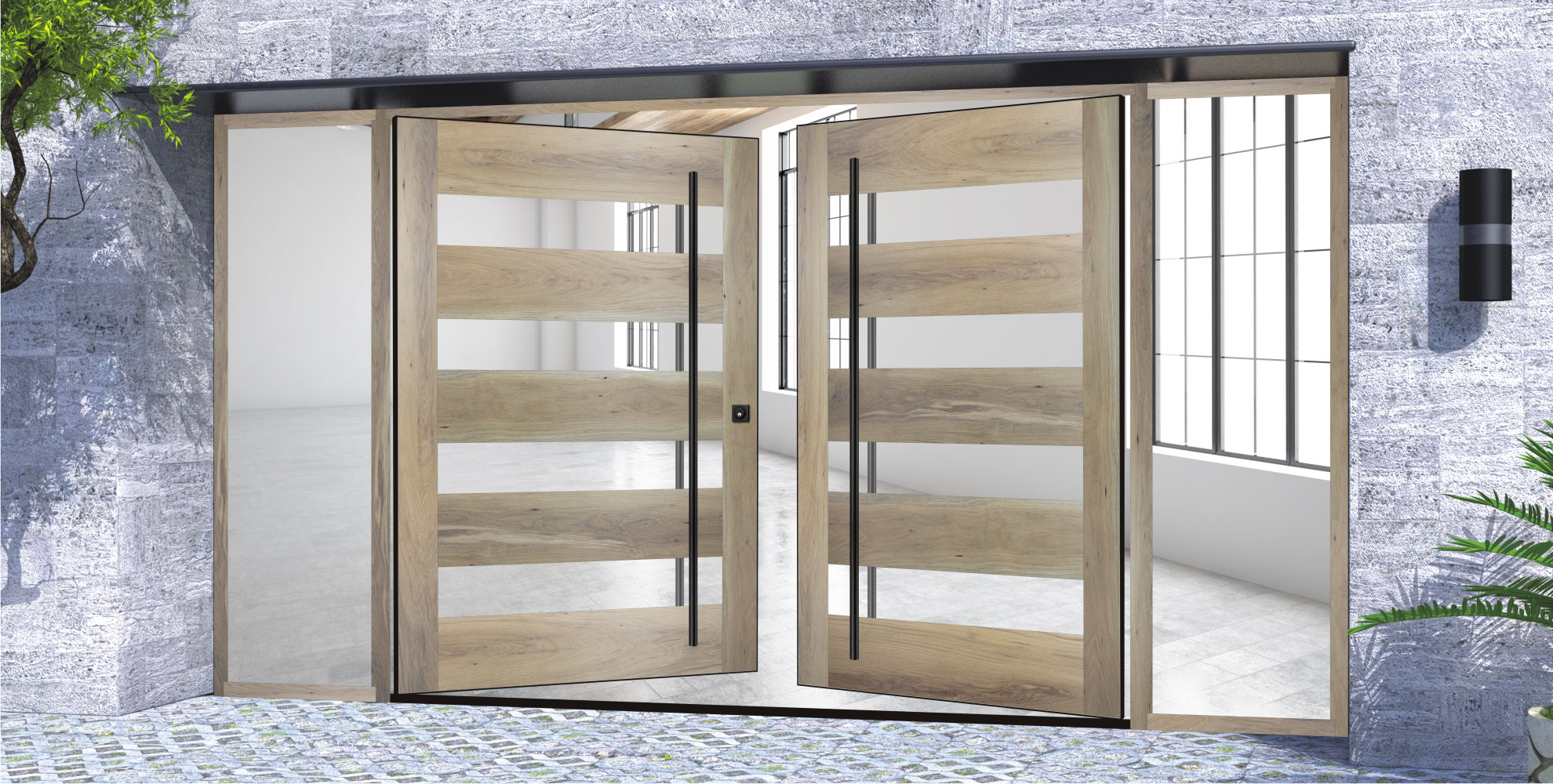 modern entry double doors made of white oak wood and glass with black door hardware and sidelights