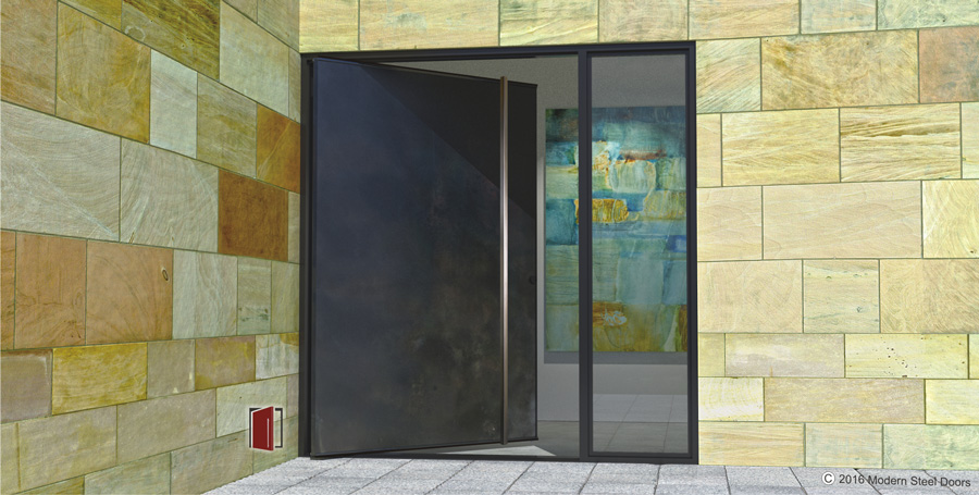 modern steel pivot front door with square stainless steel door pull and sidelight