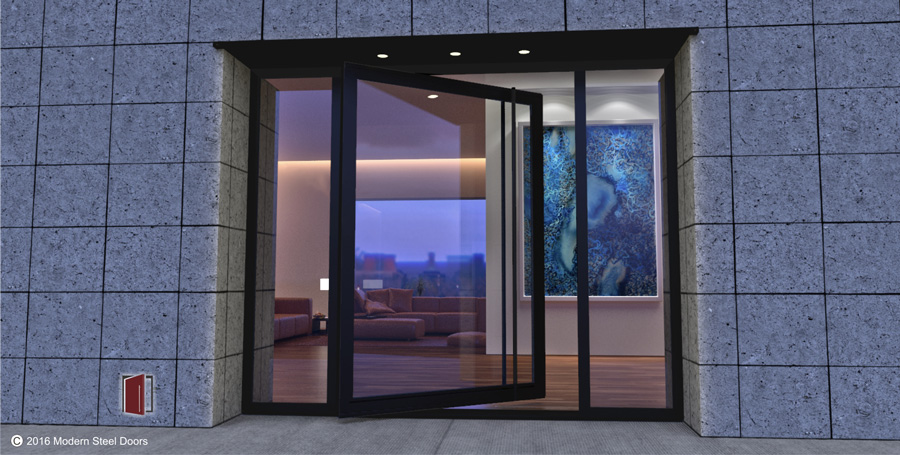modern front door made of glass and steel with round black door length door handle and sidelights